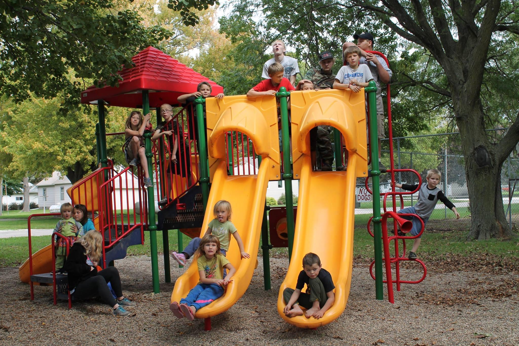 Kids on playground equipment at Havelock City Park