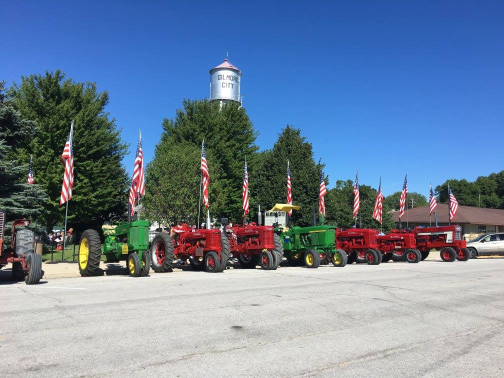Tractors parked during Gilmore City Fun Days 2016