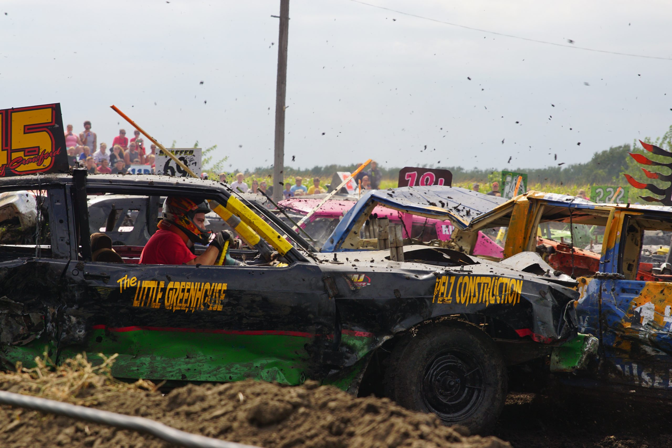 Photo of Cars Colliding at Demo Derby during Fonda Labor Day Celebration in 2016