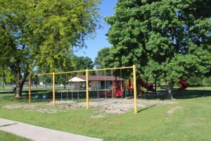 Swingset and playground at North Park in Fonda