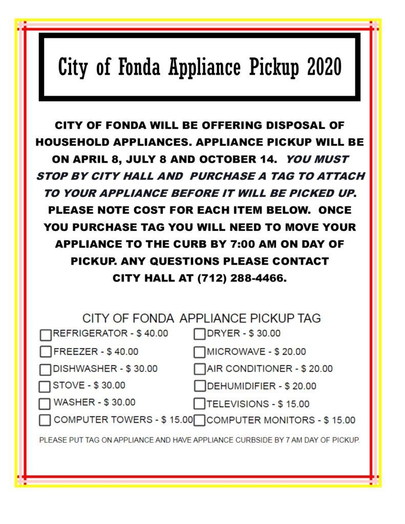 CITY OF FONDA APPLIANCE PICKUP 2020 1