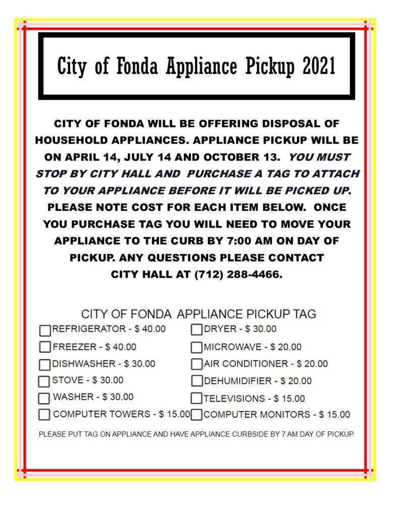 CITY OF FONDA APPLIANCE PICKUP 2021