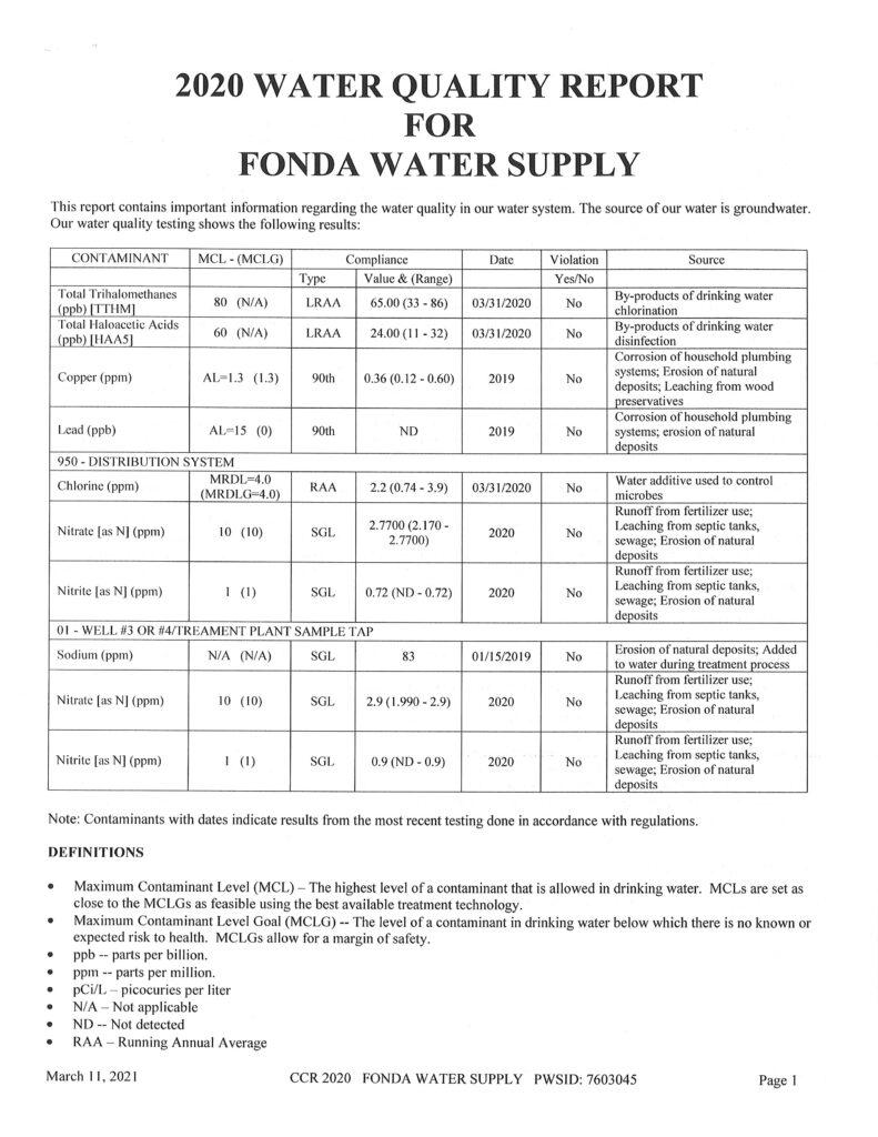 Water Quality 2020 page 1