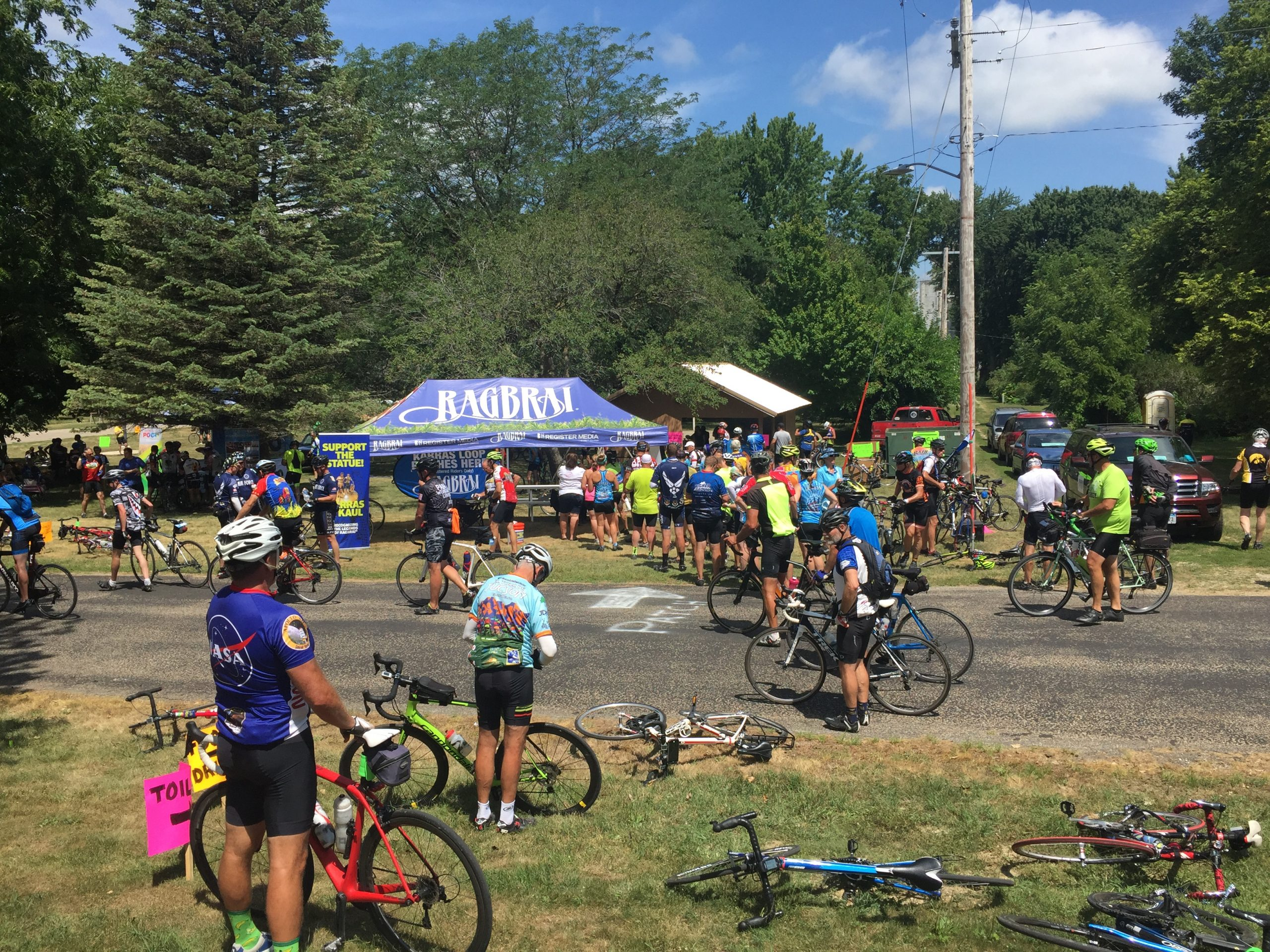 Photo of bicyclists in Plover to get special patch during RAGBRAI Karras Loop July 2017 1